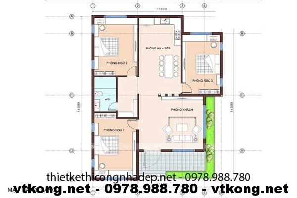 Mặt bằng biệt thự 1 tầng NETBT1T1