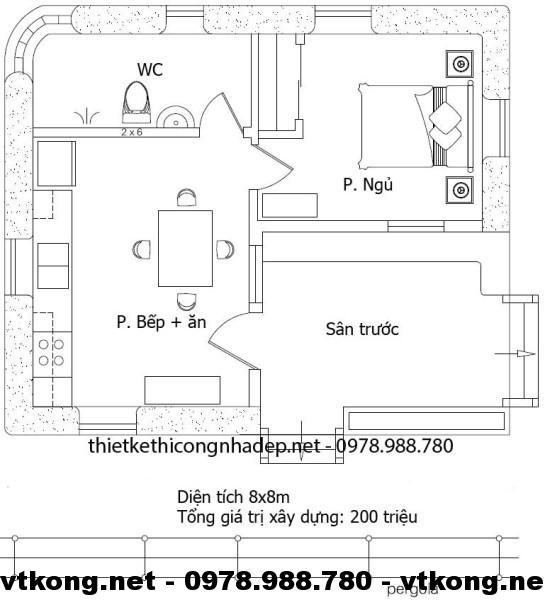 Mặt bằng nhà cấp 4 lợp mái tôn NETNC432