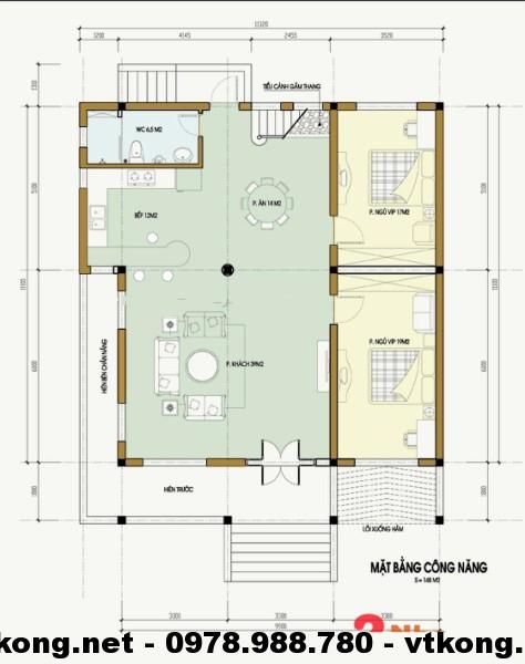 Mặt bằng nội thất biệt thự nhà vườn 1 tầng NETBT1T3