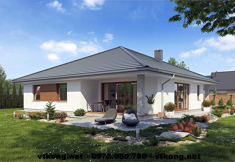 Thiết kế nhà biệt thự vườn 1 tầng đẹp NETBT1T4
