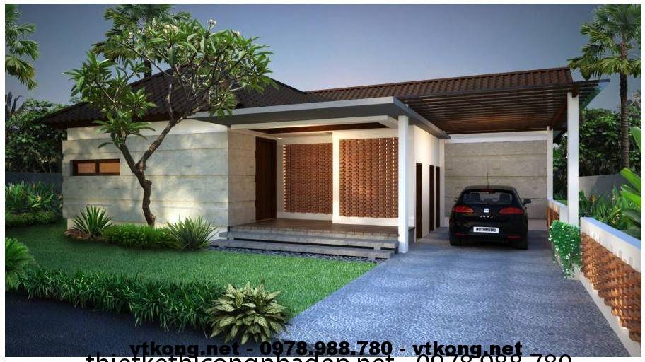 Thiết kế mẫu nhà biệt thự 1 tầng hiện đại NETBT1T6