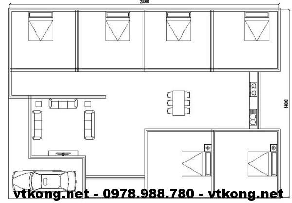 Mặt bằng nội thất biệt thự NETBT1T8