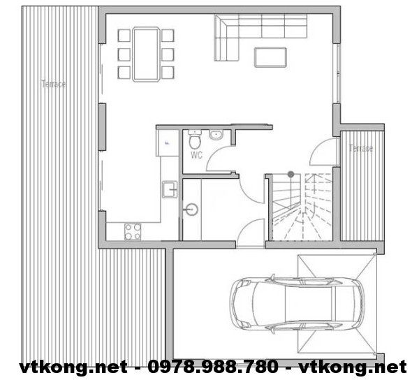Mặt bằng tầng 1 biệt thự NETBT2T6