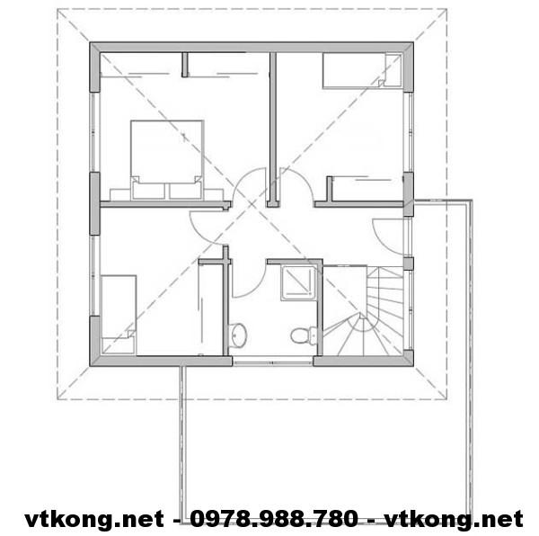 Mặt bằng tầng 2 biệt thự NETBT2T6
