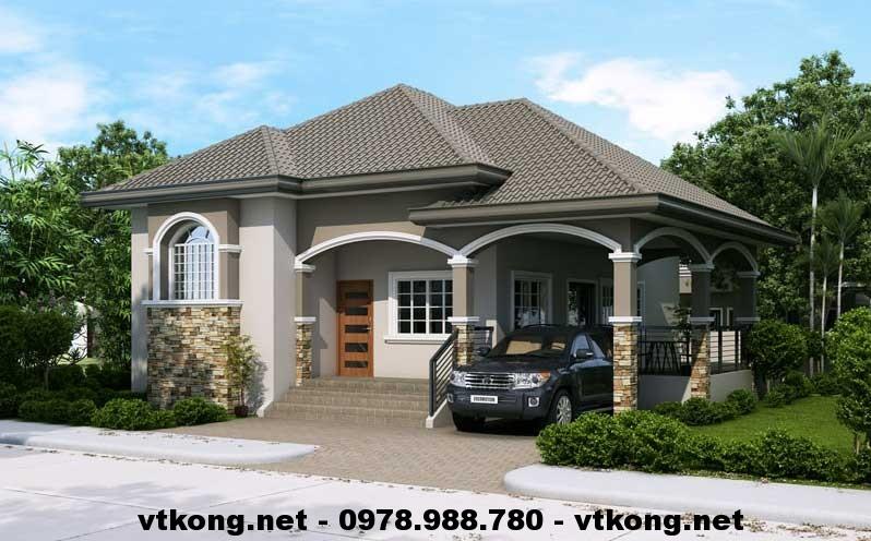 Thiết kế nội thất nhà cấp 4 đẹp mái thái 12x13m NETNC462