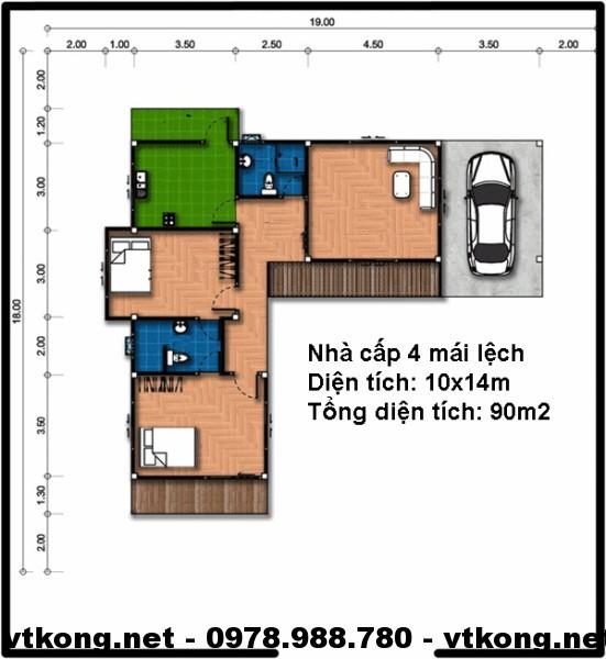 Mặt bằng nhà cấp 4 hình chữ L NETNC497
