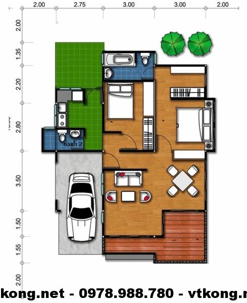 Mặt bằng nhà vườn 1 tầng NETBT1T10