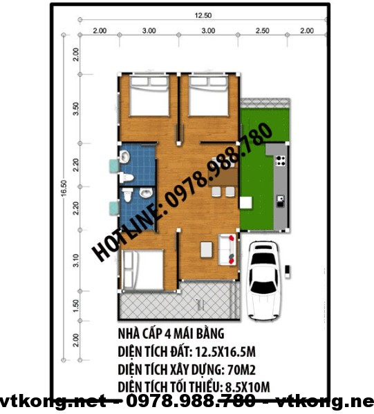 Mặt bằng nhà cấp 4 mái bằng NETNC4100