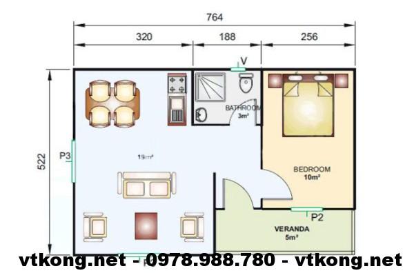 Mặt bằng nhà cấp 4 mái tôn NETNC4101