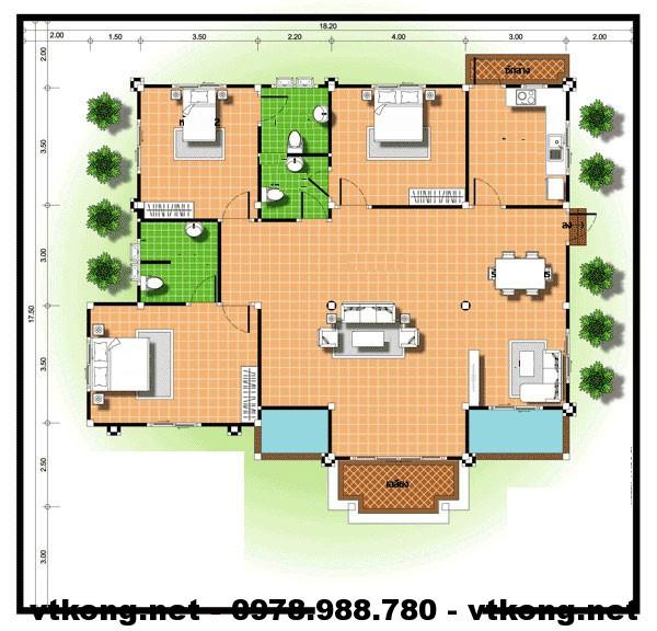 Biệt thự vườn 1 tầng NETBT1T14