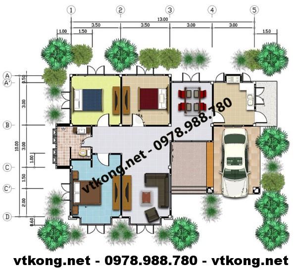 Mặt bằng biệt thự 1 tầng mái thái NETBT1T15