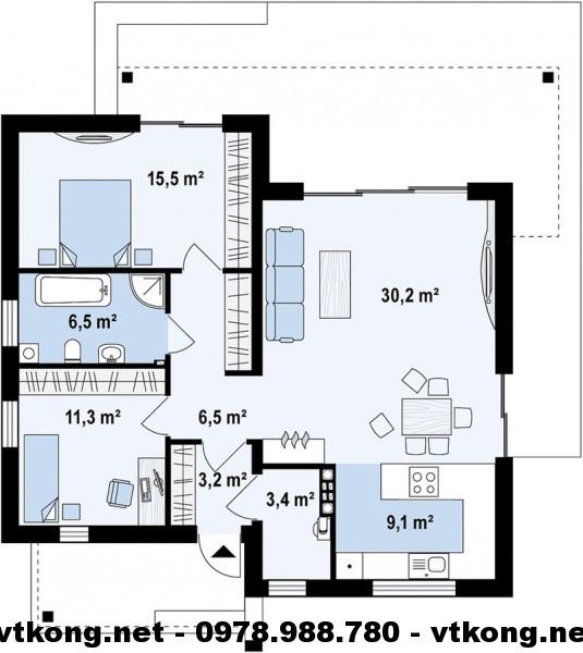Mặt bằng nhà cấp 4 mái bằng NETNC4111
