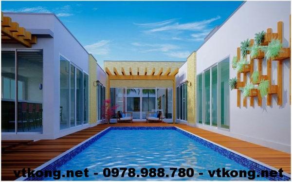 Bể bơi biệt thự 1 tầng đẹp NETBT1T22