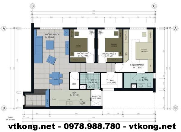 Mặt bằng chung cư 80m2 NETNTCC2