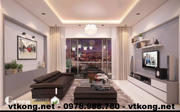 Phòng khách hiện đại nhà phố