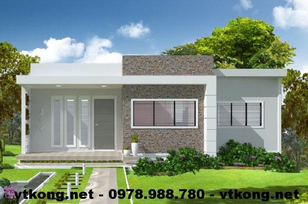Nhà mái bằng 1 tầng đẹp NETNC4121