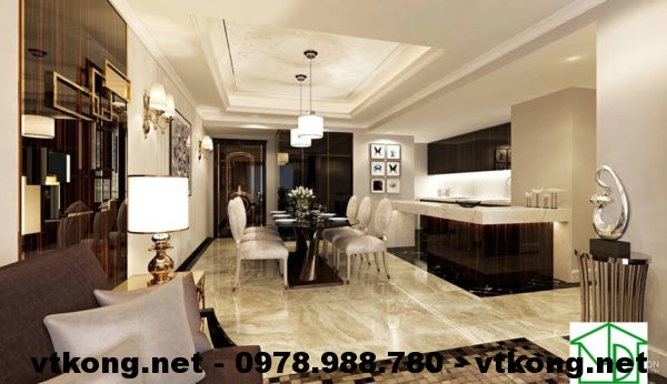 Phòng ăn và bếp chung cư đẹp NETNTCC8