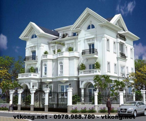 Biệt thự 3 tầng đẹp mái thái