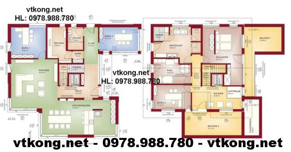 Mặt bằng biệt thự 2 tầng netbt2t15