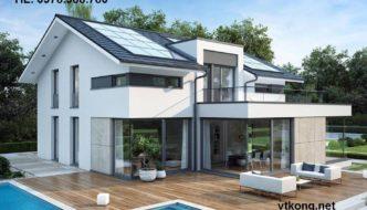 Biệt thự 2 tầng mái thái, thiết kế biệt thự vườn 2 tầng NETBT2T15