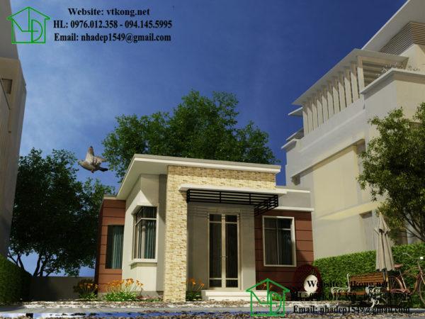 Nhà cấp 4 mái bằng đẹp NETNC4128