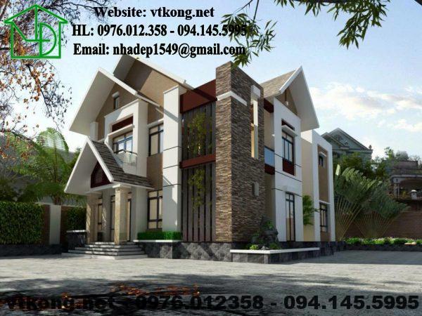 Phối cảnh biệt thự 2 tầng đẹp tại Vĩnh Phúc