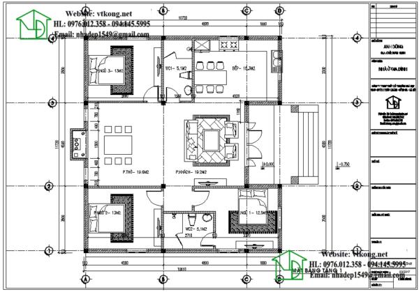 Mặt bằng nội thất nhà cấp 4 120m2 NETNC4130