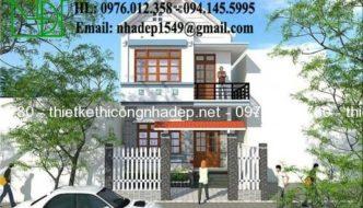 Thiết kế mẫu biệt thự nhà phố 2 tầng, mẫu biệt thự nhà phố 2 tầng mái thái đẹp