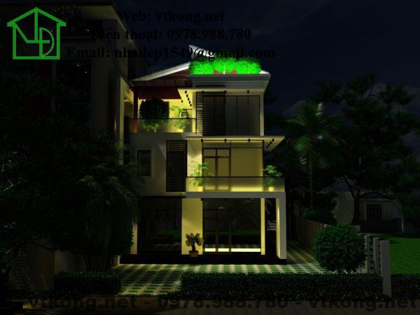 Phối cảnh ban đêm của biệt thự 3 tầng đẹp