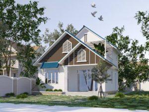 Mẫu thiết kế nhà cấp 4 gác lửng đẹp ở Thái Bình NETNC4139