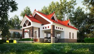 Thiết kế biệt thự vườn 1 tầng mái thái đẹp ở Đà Lạt NETBT1T33