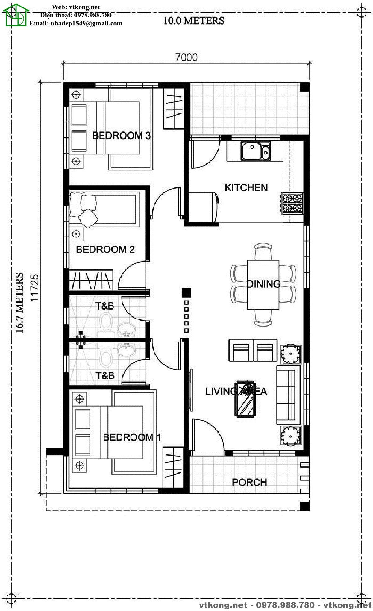 Small Bathroom Floor Plans Autocad: Tham Khảo Các Mẫu Nhà Cấp 4 đẹp Xinh Xắn NETNC4143