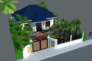 Thiết kế sân vườn biệt thự 1 tầng đẹp ở Bắc Ninh NETBT1T33