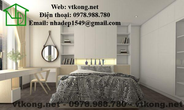 Nội thất phòng ngủ master của căn hộ chung cư