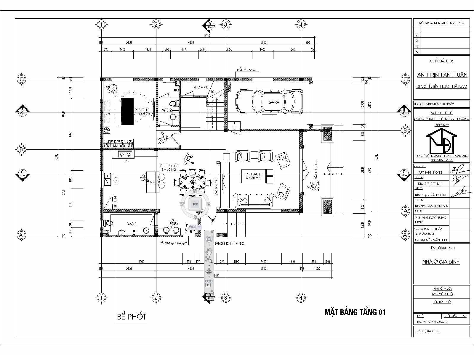 Mặt bằng tầng 1 mẫu biệt thự 2 tầng 9x14m tân cổ điển