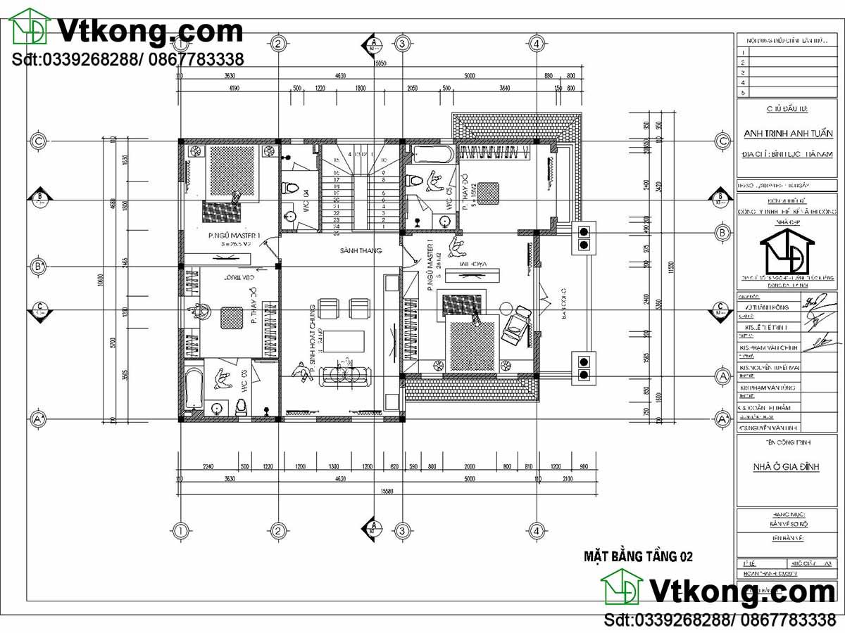 Mặt bằng tầng 2 mẫu thiết kế biệt thự 2 tầng 9x14m tân cổ điển